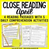Close Reading Comprehension Passages -  April   | Distance