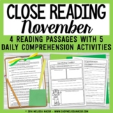 Reading Comprehension Passages and Questions - November- Thanksgiving, PIlgrims
