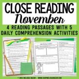 Close Reading Comprehension Passages - November - Distance