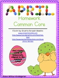 April Weekly Homework Common Core