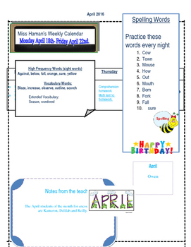 April Weekly Homework Sheet