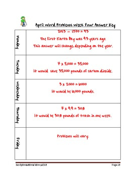 April Weekly Word Problems
