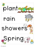 April Word Cards and Word Walls {in English and Spanish}