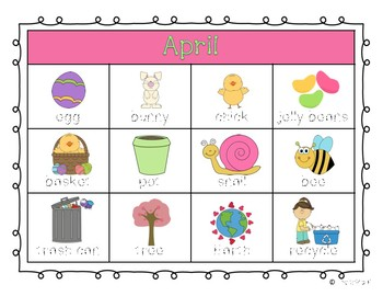 April Word Chart for Writing FREE