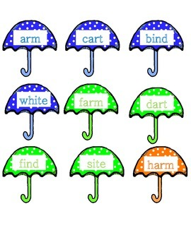 Word Family Rainy Days Literacy Center Week 3 & 4 (arm, art, ind, ite)