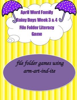 Word Family Rainy Days Literacy Center Week 3 & 4 (arm, ar