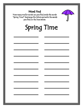 April Word Find