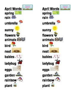 April Word Picture Sentence Helpers
