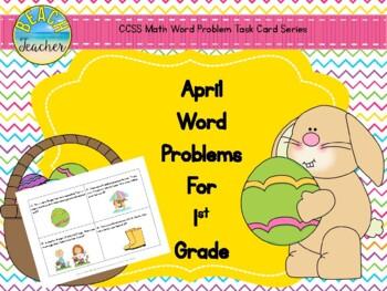 April Word Problems for 1st Grade (TASK CARDS)