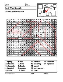 April Word Search Printable