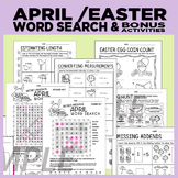 Easter / April Word Search + bonus worksheets (estimating, prompts etc)