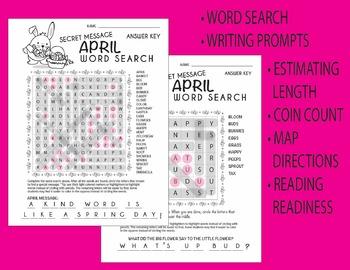Easter / April Word Search + bonus worksheets (estimating, prompts etc)