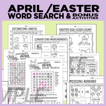 Easter / April Word Search + bonus worksheets (estimating,