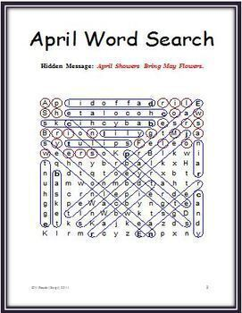 Easter - Spring Word Search Puzzle with a Hidden Message