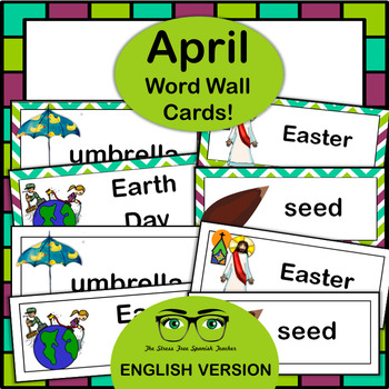 April Word Wall Cards! English version