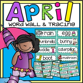 Word Wall and Tracing: April (Easter, Spring, Earth Day, Handwriting Vocabulary)