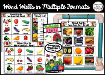 April Word Walls: Life Cycles, Plants, Farm, Earth Day, Spring Word Walls