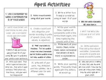 April Word Work Activities
