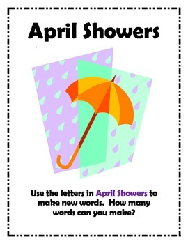 April Word Work Center- April Showers!