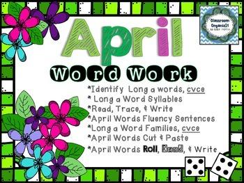 April Word Work {Long A cvce words}