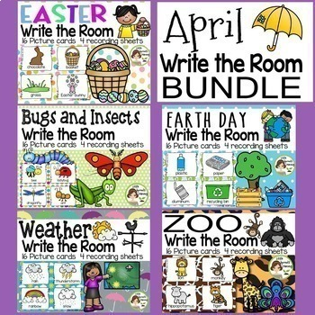 April Write the Room Bundle (Easter, Bugs/Insects, weather, Earth day, Zoo)