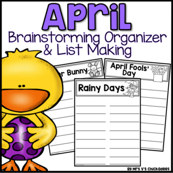 April Writing Activity: Brainstorming Organizer and List Making Paper
