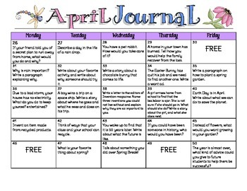 April Writing Calendar