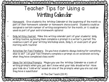 Writing Calendar:  20 Prompts for the Month of April