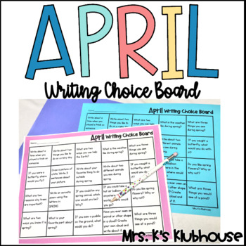 April Writing Choice Board