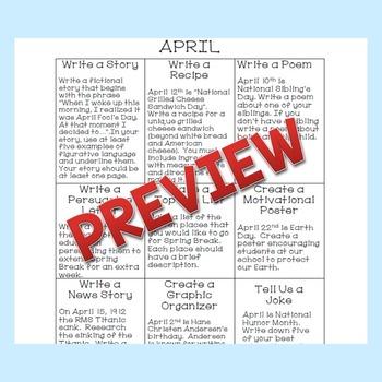 April Writing Choice Board