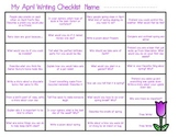 April Writing Journal Prompt Checklist