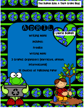 April Writing Menu with Graphic Organizers & Publishing Paper! Freebie Inc.!