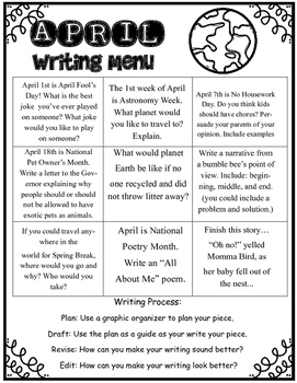 April Writing Menu With Graphic Organizers Publishing Paper