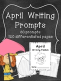 April Writing Prompts on Themed Writing Paper
