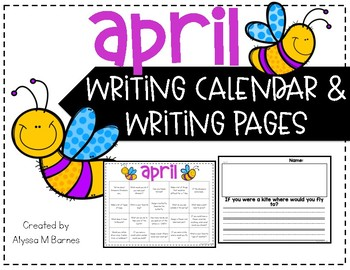 April Writing Prompt and Calendar