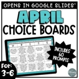 April Writing Prompts   Digital Writing Choice Boards