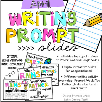 April Writing Prompts: Google Slides, PowerPoint, & Intera