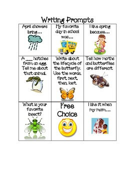 April Writing Prompts and Spelling Puzzle