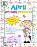April Writing Prompts with Vocabulary Cards – Great for ESL/ENL