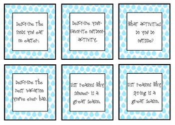 April Writing Topic Cards {50 Cards}