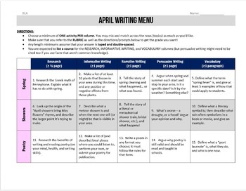 April Writing for Teens: Choice Menu with 40 Prompts and More