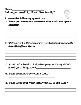 April and Her Family -Vocab+Spelling Words Printables,Comprehension and Grammar
