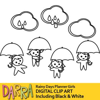 April shower clip art / rainy days, cloud, umbrella girl, weather clipart