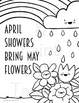 April showers bring May Flowers Spring Posters, Coloring