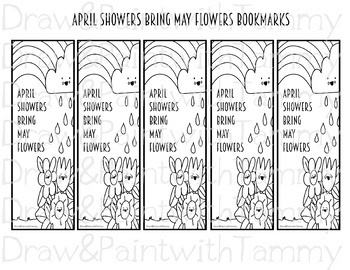 April Showers Bring May Flowers Spring Posters Coloring Page And Bookmarks