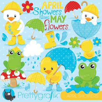 April showers clipart commercial use, vector graphics, digital - CL824