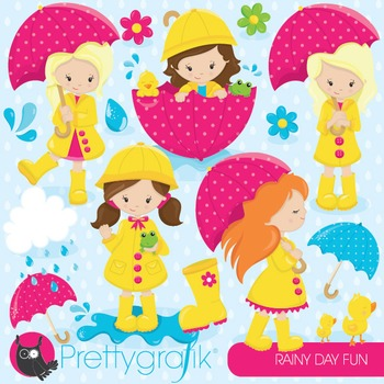 April showers clipart commercial use, vector graphics, digital - CL825