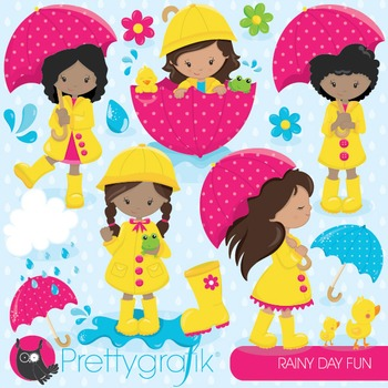 April showers clipart commercial use, vector graphics, digital - CL827