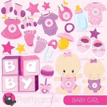 Baby girl clipart commercial use, vector graphics, digital - CL828