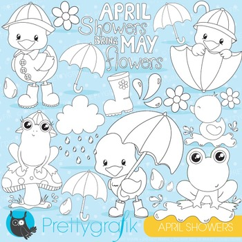 April showers stamps commercial use, vector graphics, images - DS824
